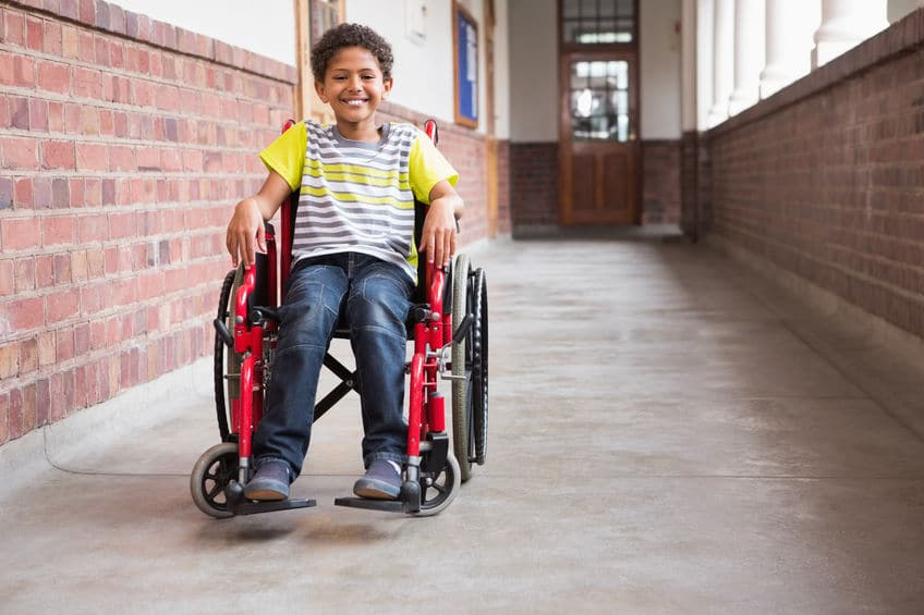 Child on a wheelchair